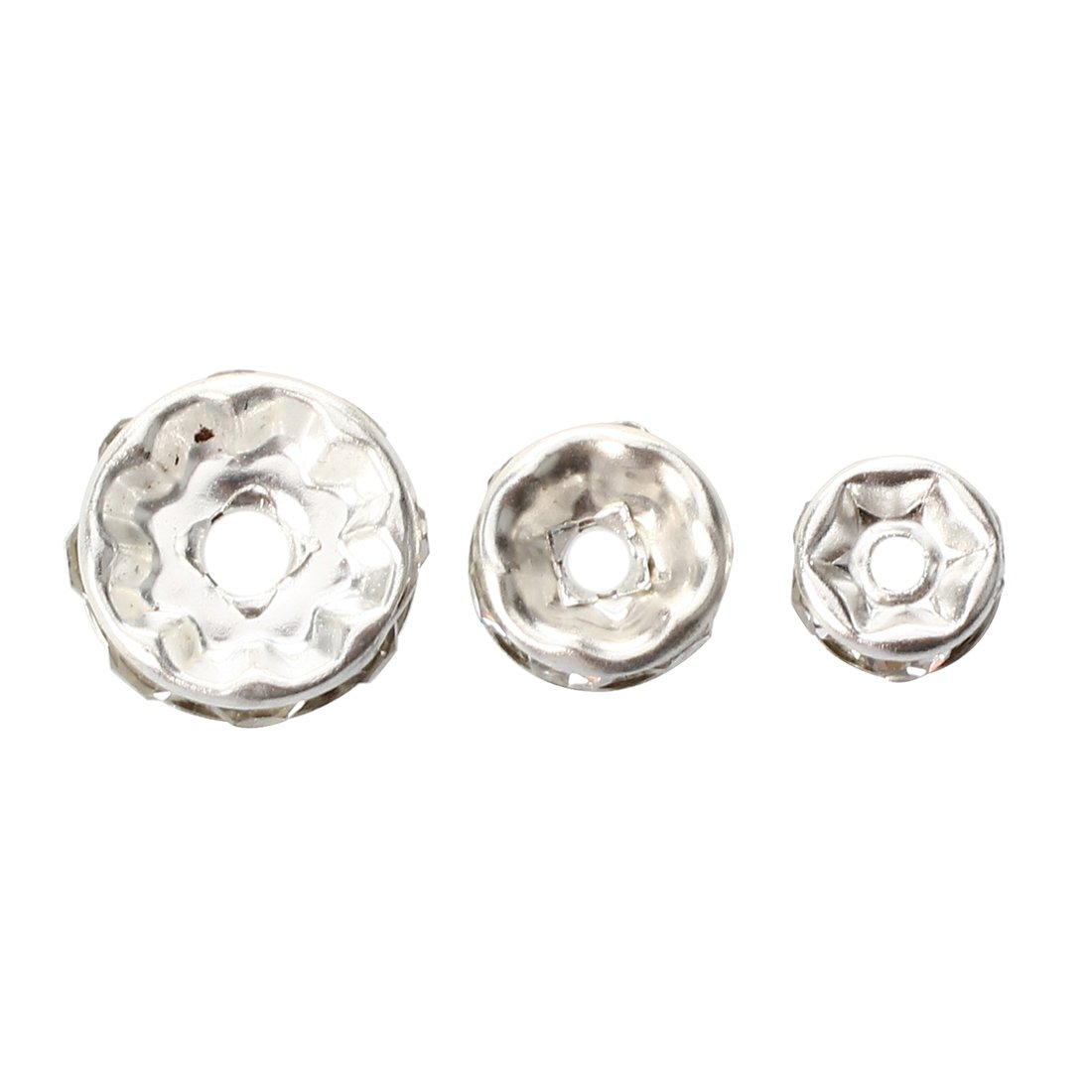 Bead spacer - SODIAL(R) 75pcs Silver bead spacer plate and rhinestone DIY Deco Necklace Jewelry 6 + 8 + 10mm 024227