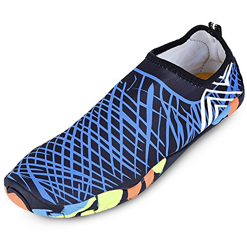 KCatsy Outdoor Round Toe Quick-Dry Breathable Flat Heel Slip-on Men Water Shoes Blue (Chocolate Boots 10')