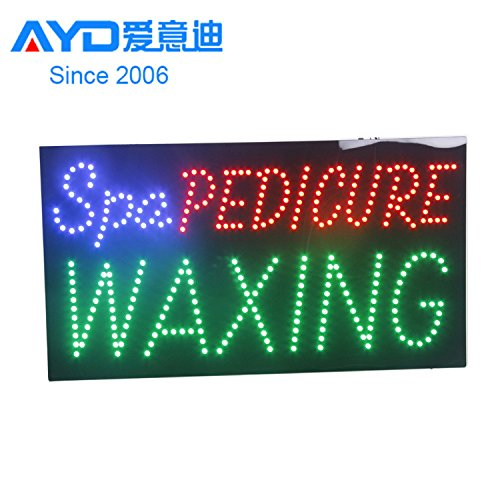 LED Spa Pedicure Waxing Open Light Sign Super Bright Electric Advertising Display Board for Message Business Shop Store Window Bedroom 19 x 10 inches (Sign Led Waxing)