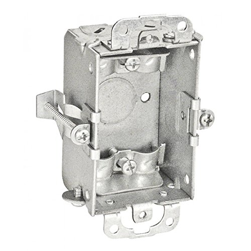 2 Pcs, 1-1/2 In. Deep Switch Box w/Clamps for Nonmetallic Sheathed Cable w/Old Work Clips, Zinc Plated Steel, (1) 1/2 In. Bottom Knockout by Garvin