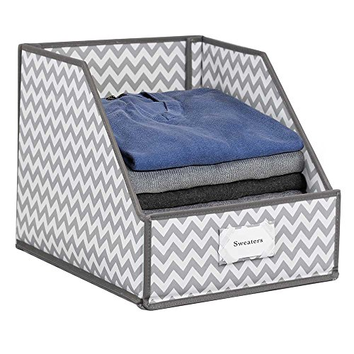 G.U.S Closet Shelf Storage Bin To Organize Sweaters, Jeans and Shirts - Chevron Striped with Gray Trim, Set of (Trim Utility Shirt)