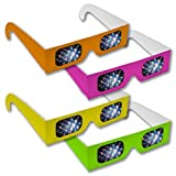 Rainbow Symphony Diffraction Grating Glasses - Assorted Neon Colors (200-Pack)