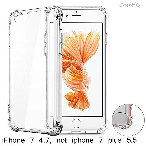 CaseHQ TPU Slim Fit Advanced Shock-absorbent Scratch-resistant Shockproof Protective Hard Cover Case Enhanced Grip For iPhone 7 (4.7 inch), iPhone 8 (4.7 inch), Crystal Clear