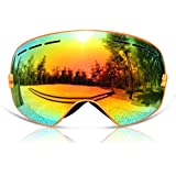 GANZTON Skiing Goggles Snowboard goggles Double Lens Anti-UV Anti-Fog Skating Goggles For Women And Men, Boys And Girls Orange