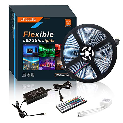 - LED Strip Lights Waterproof Flexible RGB Color Changing SMD 5050 300leds 16.4ft 5m LED Tape Kit with 44 Keys IR Remote Controller and 12v Power Supply for Outdoor, Indoor, Bedroom, Party and Home