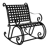 Outdoor Patio Outdoor Solid Iron Scroll Rocker Porch Rocking Chair Backyard Antique Seat Black #269