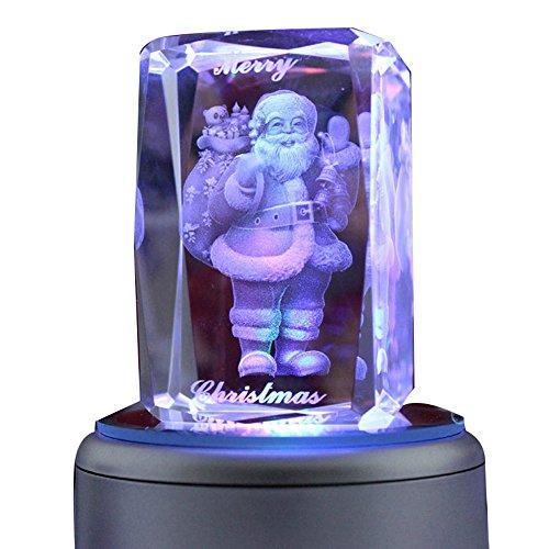 LIWUYOU Colorful Romantic Engraved Merry 3D Crystal Musical Box, Santa Claus, Music - Santa Music Box Claus