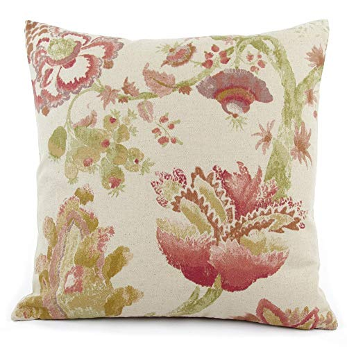 Chloe & Olive Cotton Floral and Stripes Designer Decorative Throw Toss Pillow Cover - Handcrafted Red and Brown Cushion Sham - Sunset Red - 17