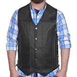 DEFY Men's Black Genuine Leather 10 Pockets Motorcycle Biker Vest New (7XL (CHEST 62 INCHES))