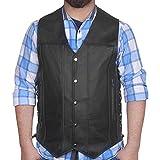DEFY Men's Black Genuine Leather 10 Pockets Motorcycle Biker Vest New (5XL (CHEST 58 INCHES))