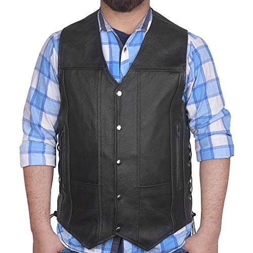 DEFY Men's Black Genuine Leather 10 Pockets Motorcycle Biker Vest New (Large (CHEST 42 INCHES))