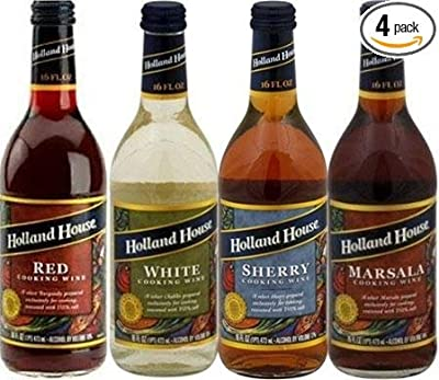 Holland House Cooking Wine 13.1 oz Bottle (Pack of 4) Select Flavor Below (Sampler Pack - 1 Each of Red White Marsala & Sherry)