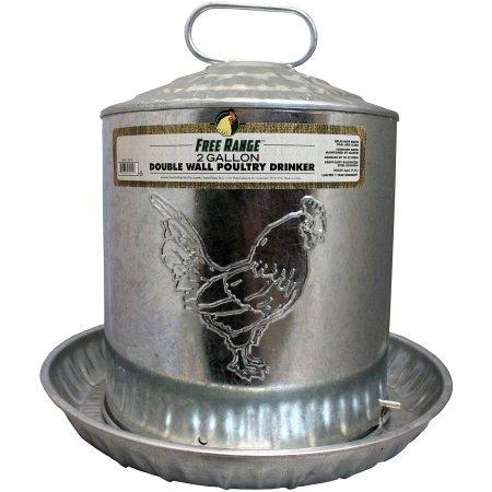 Harris Farms LLC Pet Double Metal Wall Chick Water Fountain, 2-Gal
