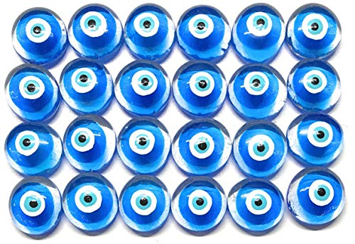 Jazzy Glass Gems, Hand Painted Set of 24 EVIL EYE; Party Favor, Decoration, Mosaic Tile, Crafts etc, EVIL EYE