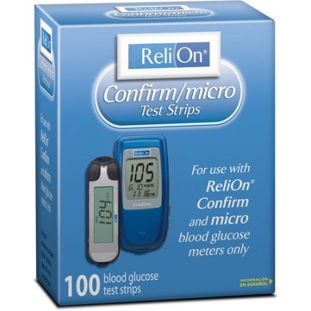 ReliOn Confirm/micro Blood Glucose Test Strips 100 count /Model: 712100