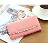 Woolala Women Cute Bowknot Wallet Trifold Large Capacity Long Purse