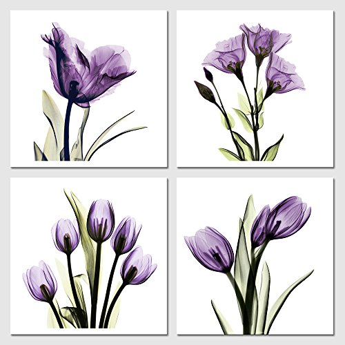 Four Panel Floral Canvas Print, Purple