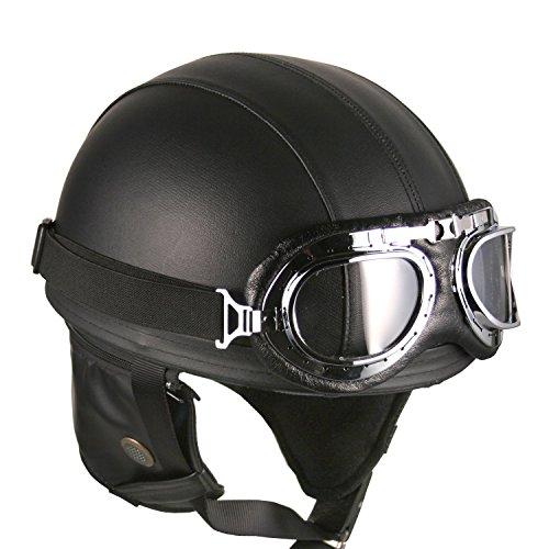 HANMI Casco Estilo Vintage con Goggles Color Negro