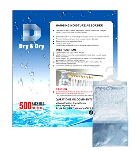 Dry & Dry [12 Packs [Net 9 Oz/Pack] Premium Hanging Moisture Absorber to Control Excess Moisture for Basements, Closets, Bathrooms, Laundry Rooms.