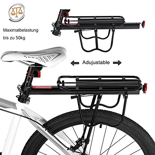 Calar Rear Bike Rack, Adjustable Pannier Bicycle Cargo Rack Quick Release Aluminum Alloy Bike Luggage Carrier Rack 115 Lb Capacity by Calar (Image #2)