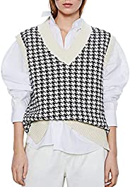 SAFRISIOR Oversized Houndstooth Knitted Vest Sweater Vintage V Neck Loose Sleeveless Sweater