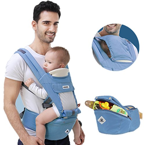 360 Ergonomic Baby Carrier Adjustable Backpack with Hip Seat,12 Positions All Seasons Summer,Baby Diaper Bag with Large Capacity,Breathable Mesh Safe Comfortable,for Infant/Toddler/Newborn,Light Blue