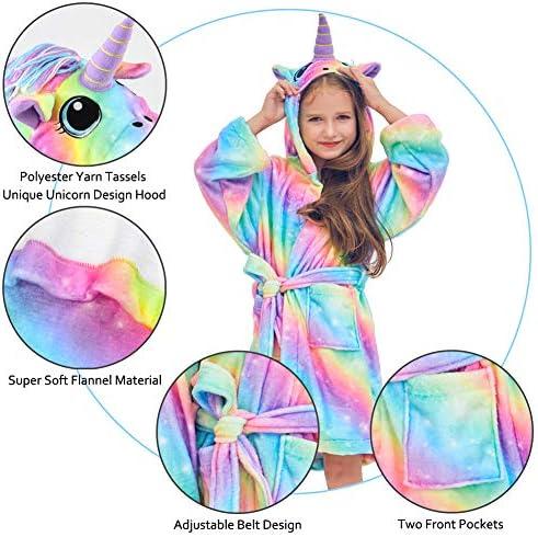 Beinou - Bata de Forro Polar con diseño de Unicornio para niños