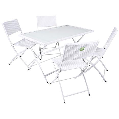 Tavolo Pieghevole Con 4 Sedie.Bakaji Tavolo Rettangolare Con 4 Sedie Pieghevoli Modello Space In Acciaio E Polyrattan Arredamento Da Giardino Esterno Bianco
