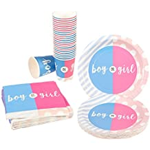 """Juvale Gender Reveal Party Supplies - Serves 24 -""""Boy Girl Disposable Dinnerware, Including Paper Plates, Napkins Cups - Baby Shower, Tea Party Supplies Decorations, Pink Blue"""