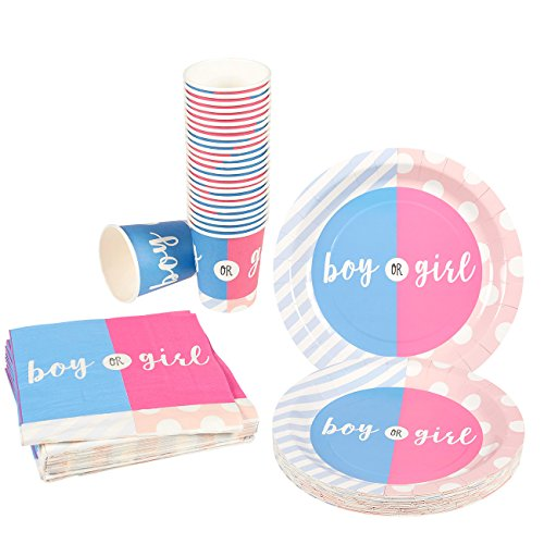 Gender Reveal Party Disposable Paper Dinnerware - 24-Set Baby Shower Party Supplies - 24 Counts of Paper Plates, Napkins and Cups, Pink, Blue, White