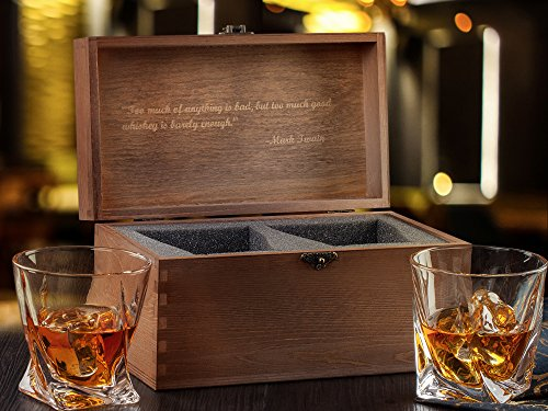 Premium Quality Twist Whiskey Glasses Set of 2 in Hand Crafted Wooden Box - Lead-Free Crystal Old Fashioned Tasting Tumblers For Scotch, Whisky, Liquor, Bourbon 10 oz. Luxury Gift Set For Men or Women by MILBURGA (Image #5)