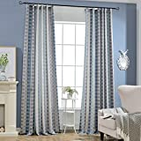 Best  - Blue/Grey Striped Curtains - KoTing 1 Panel Jacquard Review