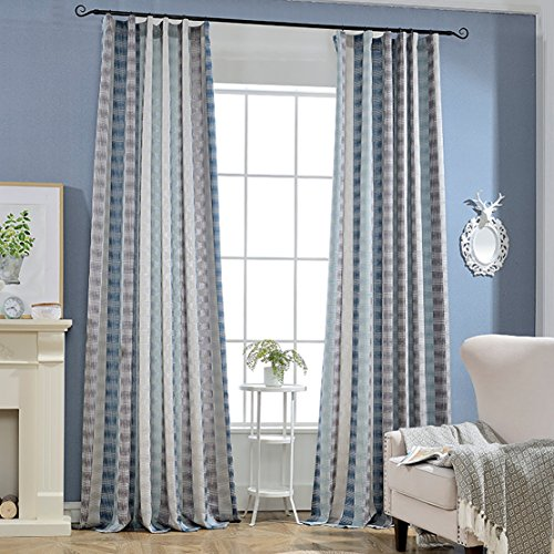 Blue Pleated Drapes (Blue/Grey Striped Curtains - KoTing 1 Panel Jacquard Blue Grey Pattern Curtain for Living Room Drape Dlouble Pleated 50W by 84L Inch)