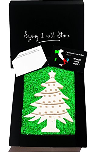 LIMITED EDITION Christmas Tree Handmade in Italy - Elegant gift box & blank message card included - Rare Italian stone contains fossil fragments - Unique festive decoration stocking filler Xmas gifts