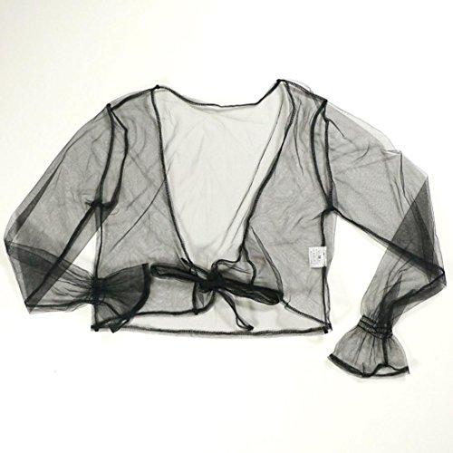 IMJONO Mujeres Camiseta de manga larga de cosecha Perspectiva Hollow Out Blusa de encaje Tops Negro