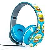 Smiley Print Over the Ear Foldable Headphone (BLUE)