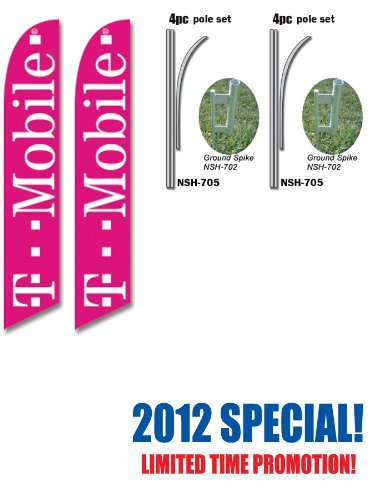 two-t-mobile-tmobile-wireless-16ft-feather-banner-flag-set-includes-15ft-pole-kits-w-hardware