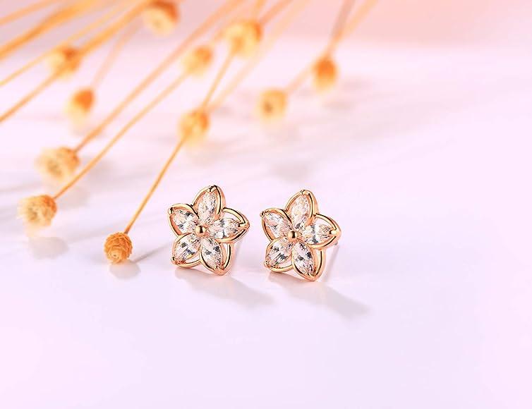 14K Rose Gold Plated 925 Sterling Silver Stud Pearl Earrings Hypoallergenic Flower Earrings for Women