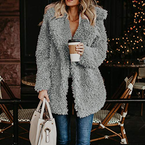 Ladies Down Coats Sweatshirt Long Gray Outerwear Turn Womens Sale Clearance Lapel Winter Warm Collar Sleeve Fashion Coat Jackets Plush DEELIN Artificial Zq1SHwvqW