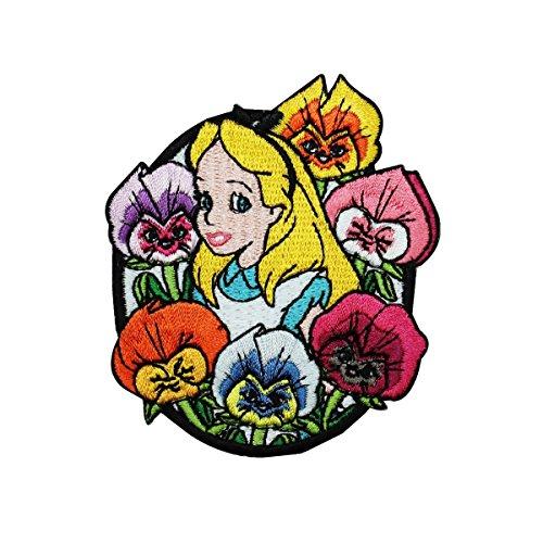 (Alice in Wonderland Flowers Iron On Patch Disney Cartoon Embroidered Applique )
