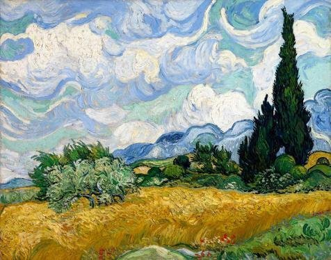 Oil Painting 'Vincent Van Gogh-Wheat Field With Cypresses, 1889' Printing On High Quality Polyster Canvas , 10x13 Inch / 25x32 Cm ,the Best Hallway Decoration And Home Gallery Art And Gifts Is This High Resolution Art Decorative Prints On Canvas