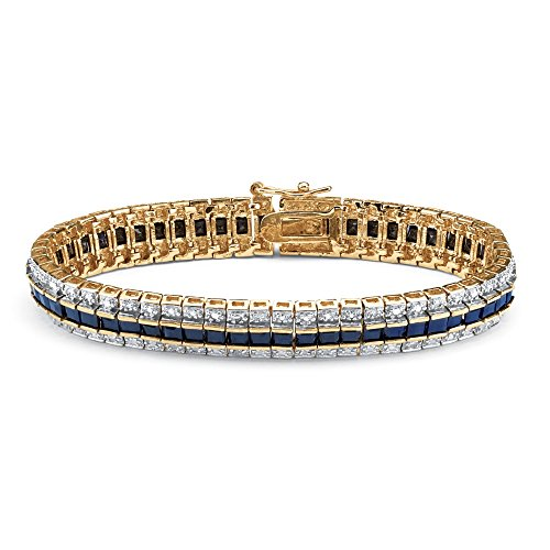 Midnight Blue Sapphire (Princess-Cut Genuine Midnight Blue Sapphire Diamond Accent 18k Gold-Plated Tennis Bracelet 7