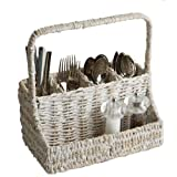 Woodard & Charles Whitewash Abaca Flatware Caddy