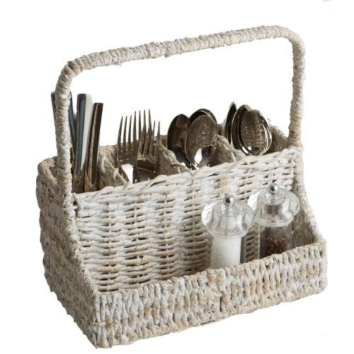 Woodard & Charles Whitewash Abaca Flatware Caddy by Woodard & Charles