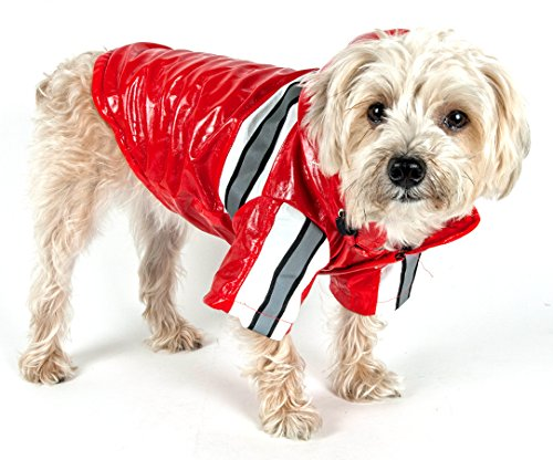 PET LIFE 'Reflecta-Glow' PVC Waterproof Fashion Insulated Adjustable and Reflective Pet Dog Coat Jacket Raincoat w/ Removable Hood, X-Small, Red