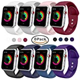 Yimzen Band for Apple Watch Series 3 38mm 42mm, Soft Silicone Replacement Sport Band iWatch Strap for Apple Watch Series 3 Series 2 Series 1, S/M M/L Size (Z-8 Pack, 42mm S/M)