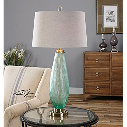 Sea glass lamps amazon lenado sea green glass table lamp model 27003 mozeypictures Images