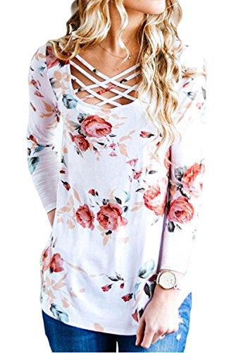 EIFFTER Women Floral Print T Shirt Casual Long Sleeve Crisscross Front V Neck Blouse Tops (X-Large, White)