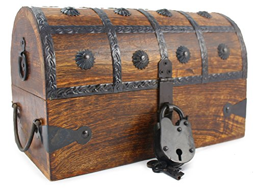 WellPackBox Wooden Pirate Treasure Chest Box With Antique Style Lock And Skeleton Key (Medium 4 Star 11 x 7 x - Wooden Stuff Cool