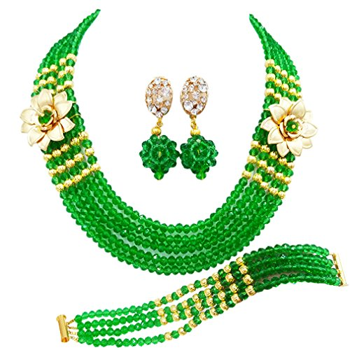 (laanc 5 Rows Multicolors African Beads Jewelry Set,Nigerian Wedding Beads Jewellery Sets (Green))